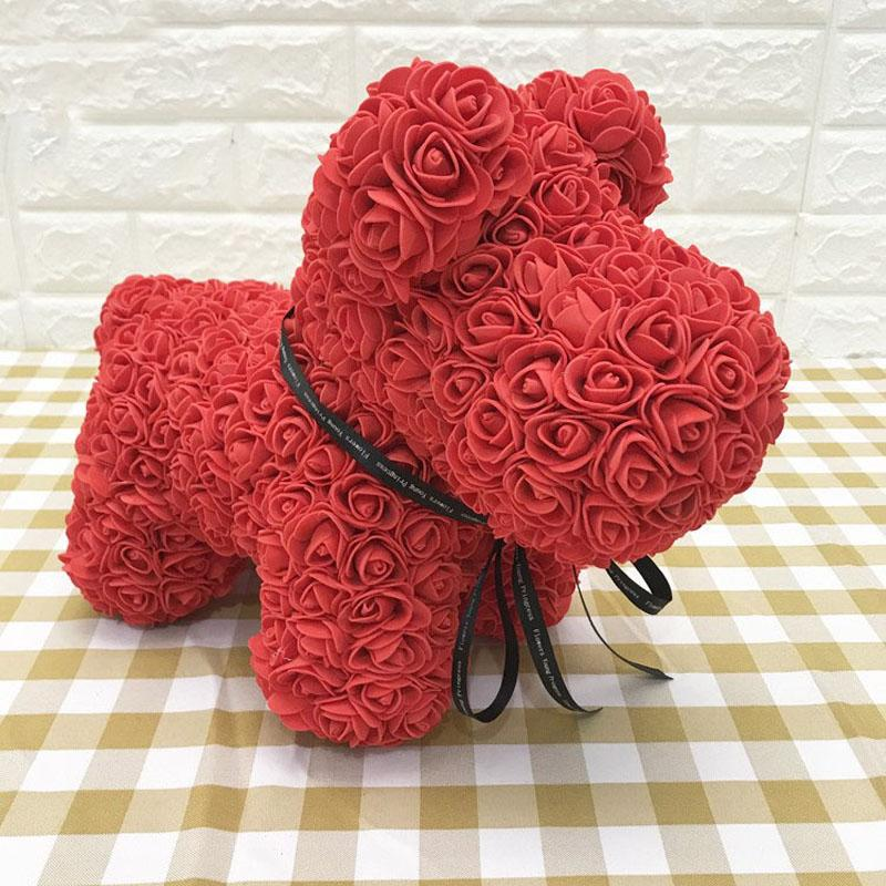 Artificial Rose Dog Wedding Anniversary Birthday Valentines Day Gift - Red