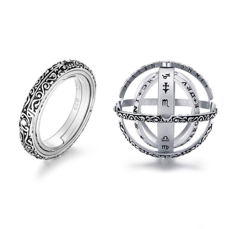 Astronomical Finger Ring - Armillary Sphere Ball Ring - Sterling Silver - 7 / Silver - Rings