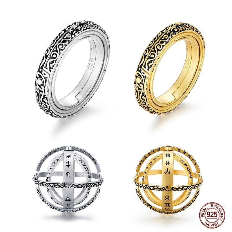Astronomical Finger Ring - Armillary Sphere Ball Ring - Sterling Silver - Rings