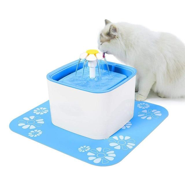 Automatic Pet Water Fountain - Doggie Fountain - Cat Drinking Fountain - Blue with mat / US Plug - Cat Feeding & Watering Supplies