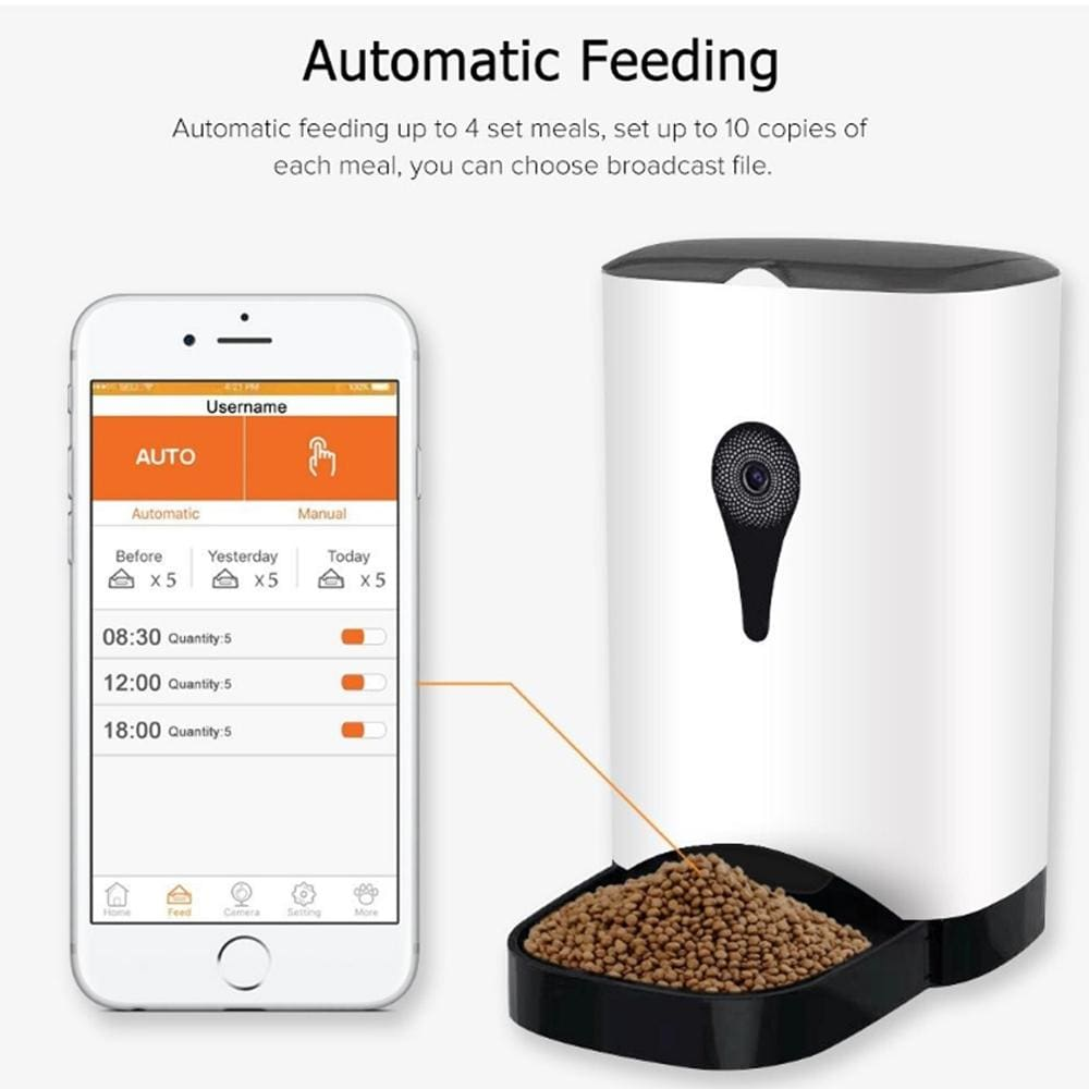 Automatic Smart Wifi Pet Feeder With Audio And Video Recording