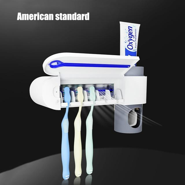 Automatic Toothpaste Squeezer Dispenser With Intelligent Sterilizer UV Light Ultraviolet Toothbrush holder - American standard