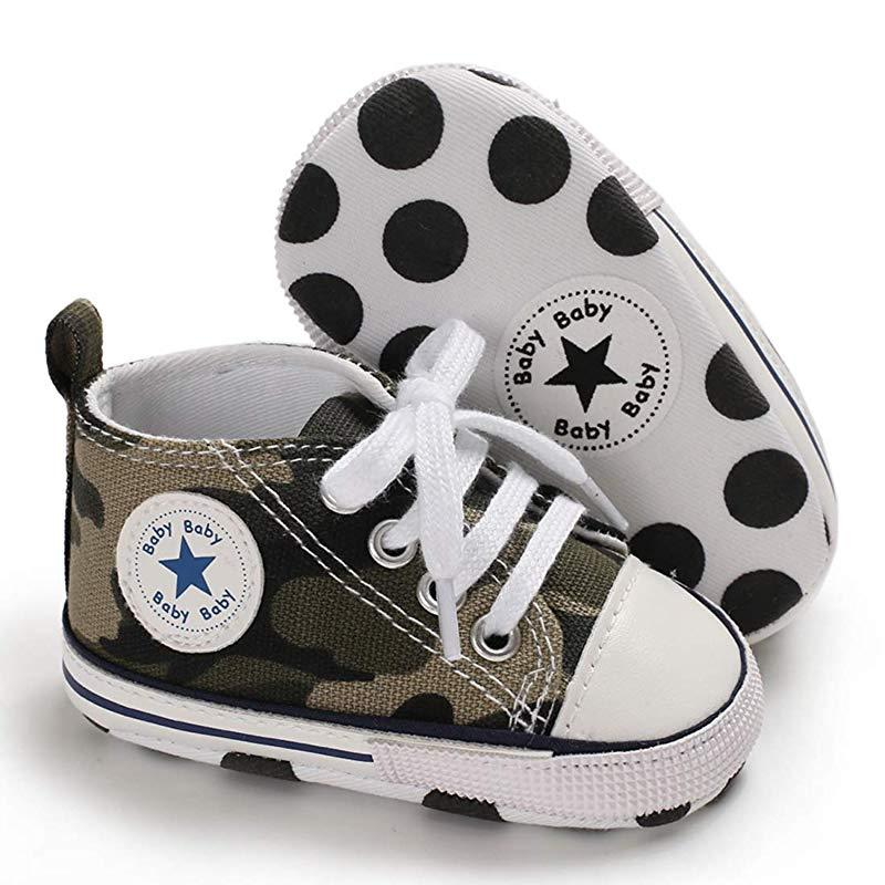 Baby Converse - infant Converse - Newborn Baby Walker Trainers - Army Green / 0-6 Months - First Walkers