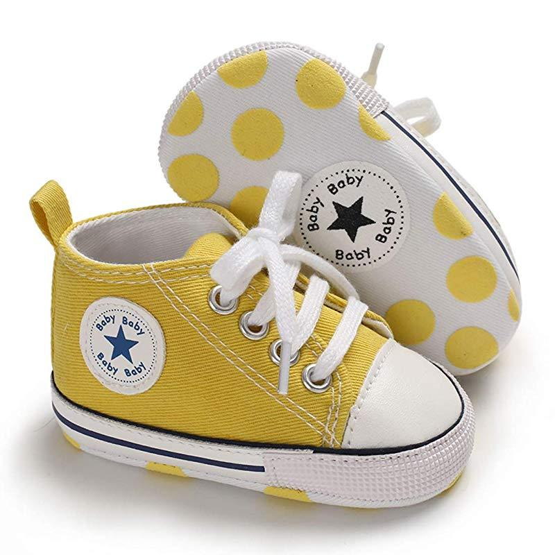 Baby Converse - infant Converse - Newborn Baby Walker Trainers - Yellow / 0-6 Months - First Walkers