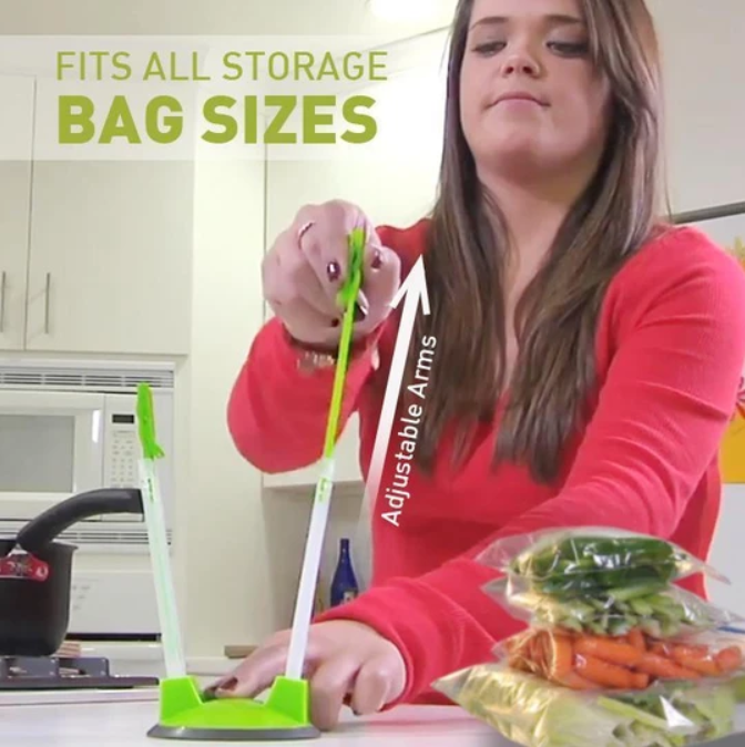 BaggyRack - Hands-Free Adjustable Ziplock Food Storage Bag Holder - Bag Clips