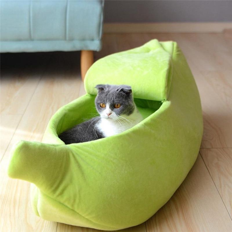 Banana Peel Pet Cat Dog Cozy Bed - Warm Sleeping Nest House For Winter - Green / For under 3 Ibs - Cat Beds & Mats
