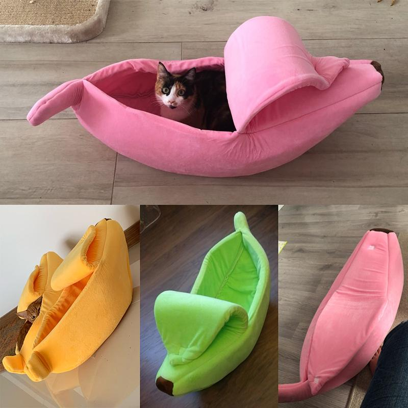 Banana Peel Pet Cat Dog Cozy Bed - Warm Sleeping Nest House For Winter - Pink / For under 3 Ibs - Cat Beds & Mats