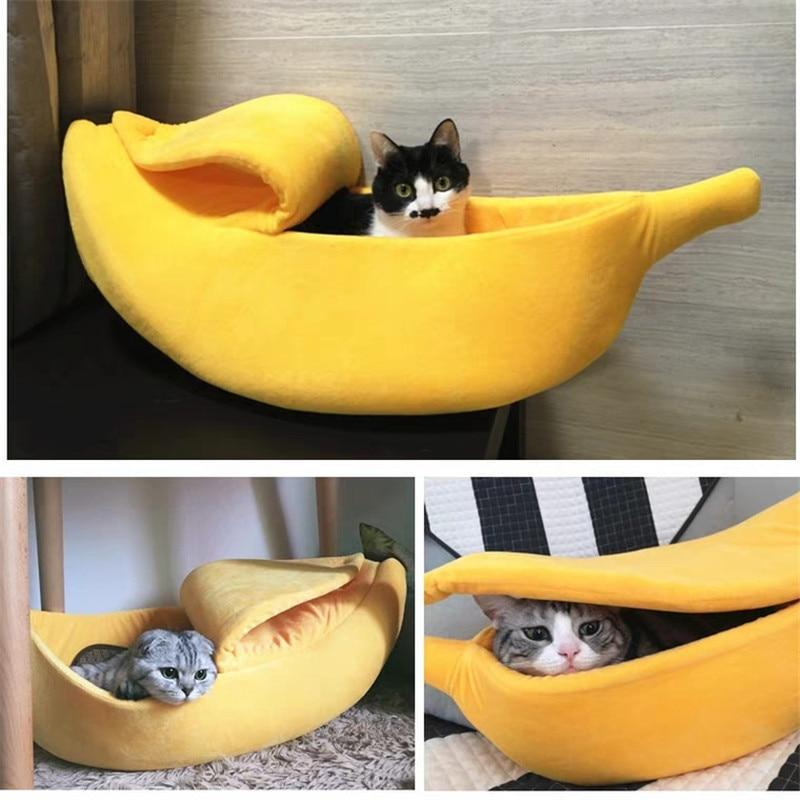 Banana Peel Pet Cat Dog Cozy Bed - Warm Sleeping Nest House For Winter - Yellow / For under 3 Ibs - Cat Beds & Mats