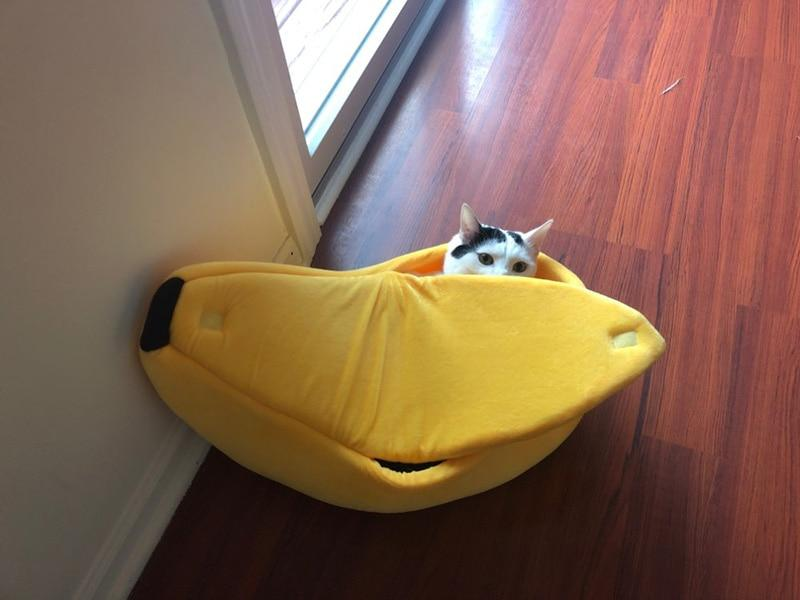 Banana Peel Pet Cat Dog Cozy Bed - Warm Sleeping Nest House For Winter - Cat Beds & Mats