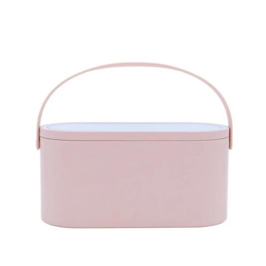 BeautyBox - Portable Makeup Case With LED Mirror Cosmetic Storage Box - Baby Pink