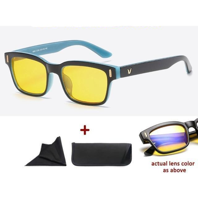 Blue Light Filter Gaming Glasses Anti Blue Ray UV 400 Computer Glasses - Black Blue In Yellow Glass