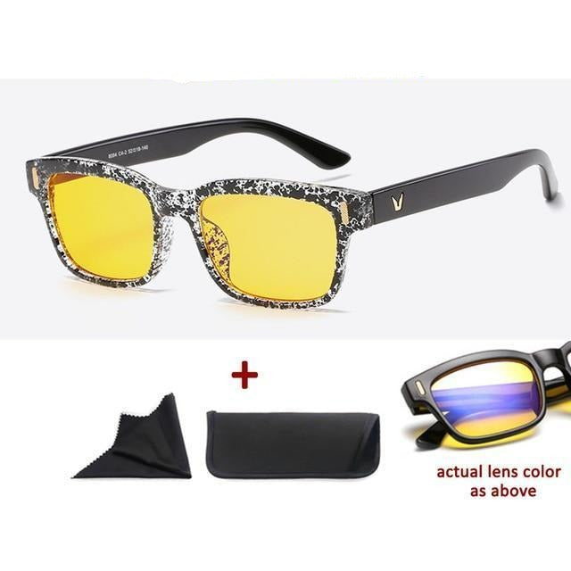 Blue Light Filter Gaming Glasses Anti Blue Ray UV 400 Computer Glasses - Black Ink Dot With Yellow Glass