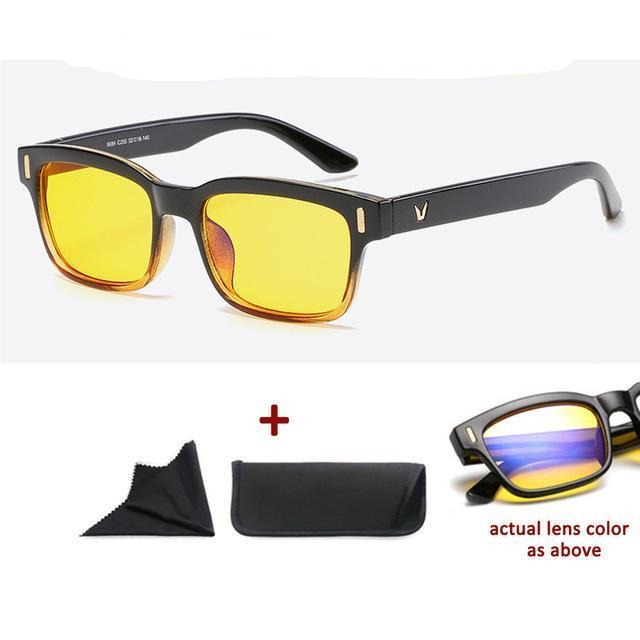 Blue Light Filter Gaming Glasses Anti Blue Ray UV 400 Computer Glasses - Black Yellow With Yellow Glass