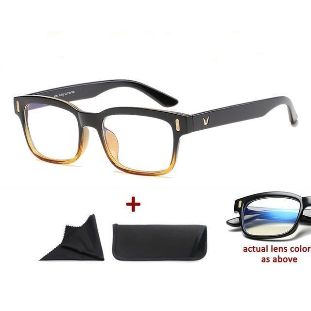 Blue Light Filter Gaming Glasses Anti Blue Ray UV 400 Computer Glasses - Black Yellow