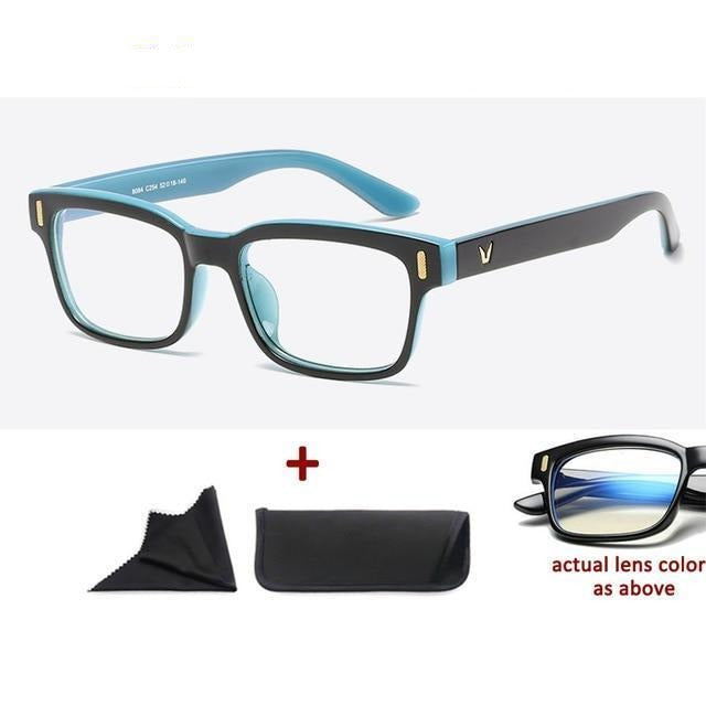 Blue Light Filter Gaming Glasses Anti Blue Ray UV 400 Computer Glasses - Black Blue