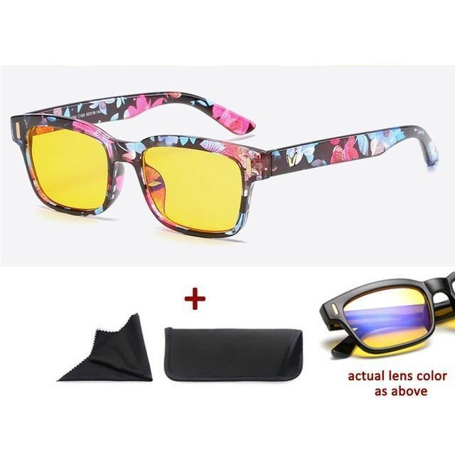 Blue Light Filter Gaming Glasses Anti Blue Ray UV 400 Computer Glasses - Colorful Flower Pattern With Yellow Glass