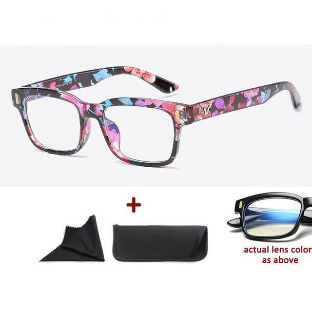 Blue Light Filter Gaming Glasses Anti Blue Ray UV 400 Computer Glasses - Colorful Flower Pattern