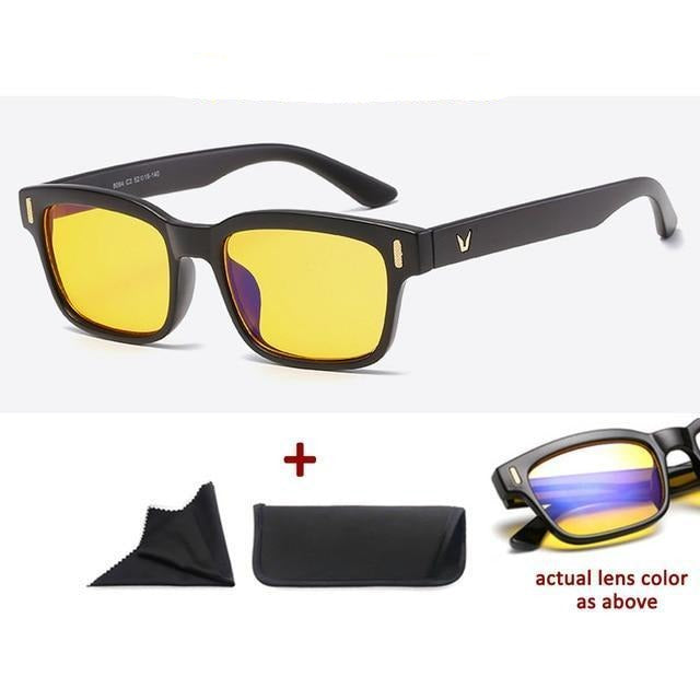 Blue Light Filter Gaming Glasses Anti Blue Ray UV 400 Computer Glasses - Matt Black With Yellow Glass