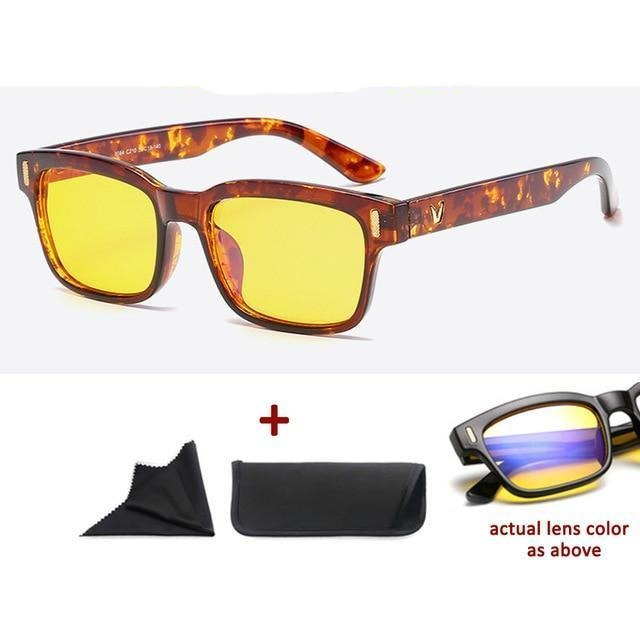 Blue Light Filter Gaming Glasses Anti Blue Ray UV 400 Computer Glasses - Shiny Amber With Yellow Glass