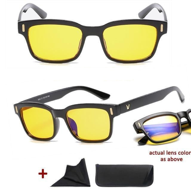 Blue Light Filter Gaming Glasses Anti Blue Ray UV 400 Computer Glasses - Shiny Black With Yellow Glass
