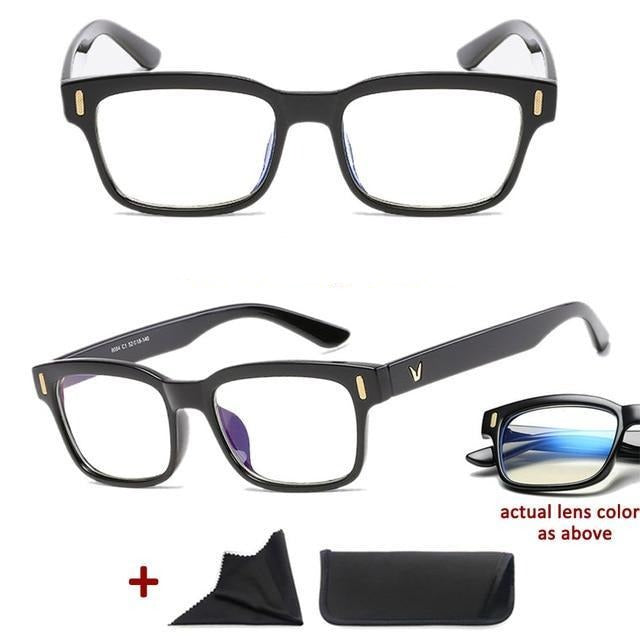 Blue Light Filter Gaming Glasses Anti Blue Ray UV 400 Computer Glasses - Shiny Black
