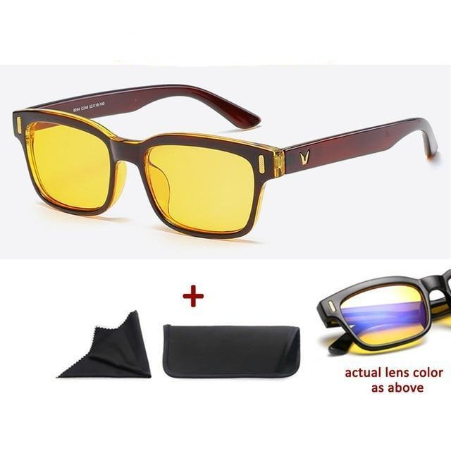 Blue Light Filter Gaming Glasses Anti Blue Ray UV 400 Computer Glasses - Shiny Brown With Yellow Glass
