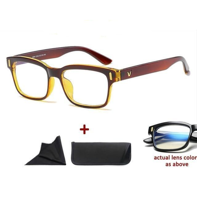 Blue Light Filter Gaming Glasses Anti Blue Ray UV 400 Computer Glasses - Shiny Brown