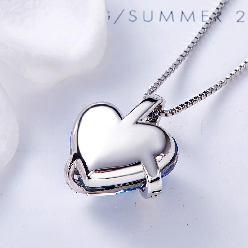 Blue Swarovski Crystals I Love You Forever Heart Pendant Necklace