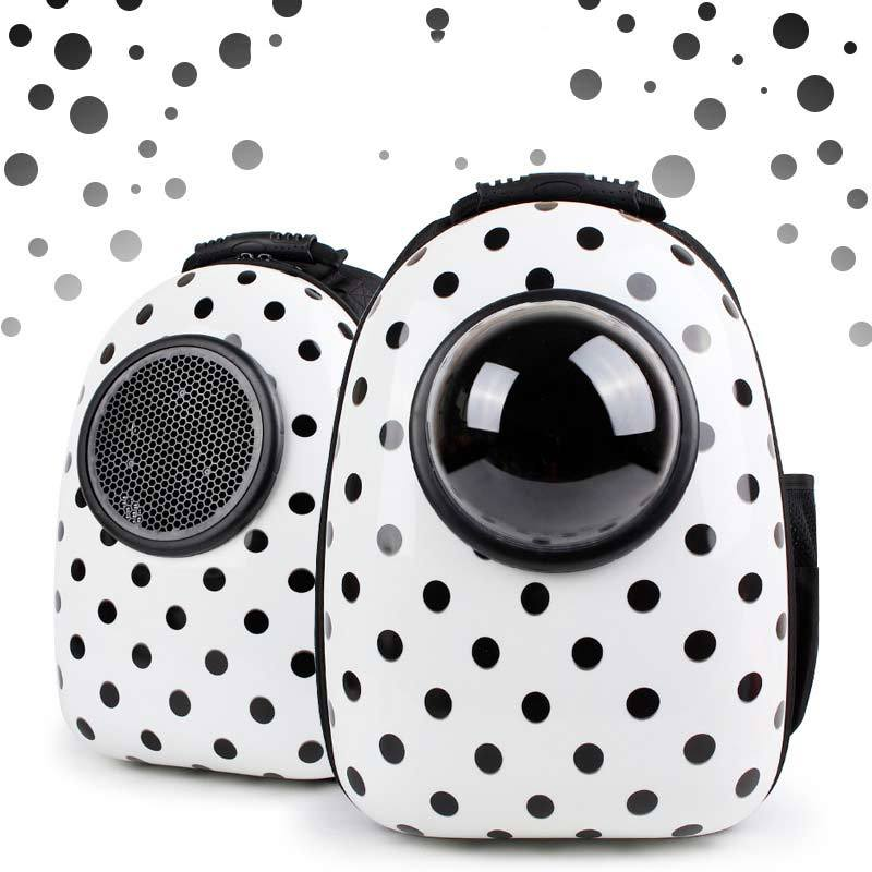 Bubble Pet Travel Backpack - Breathable Capsule Astronaut Dog Cat Carrier - Black Dot