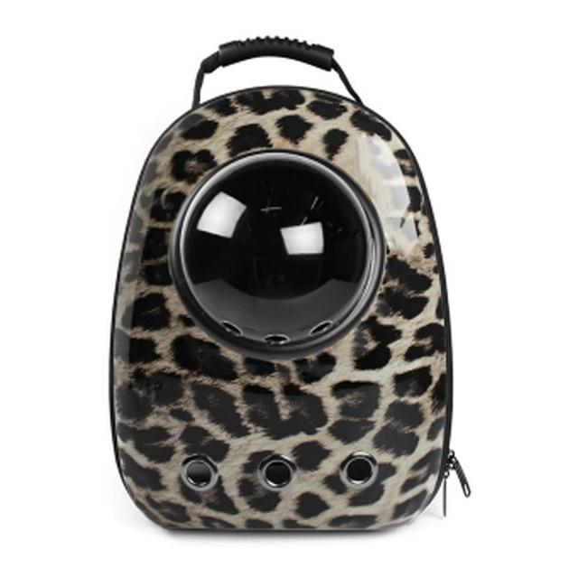 Bubble Pet Travel Backpack - Breathable Capsule Astronaut Dog Cat Carrier - Leopard Pattern