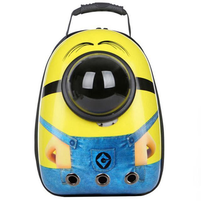 Bubble Pet Travel Backpack - Breathable Capsule Astronaut Dog Cat Carrier - Minion