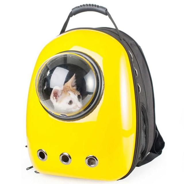 Bubble Pet Travel Backpack - Breathable Capsule Astronaut Dog Cat Carrier - Yellow