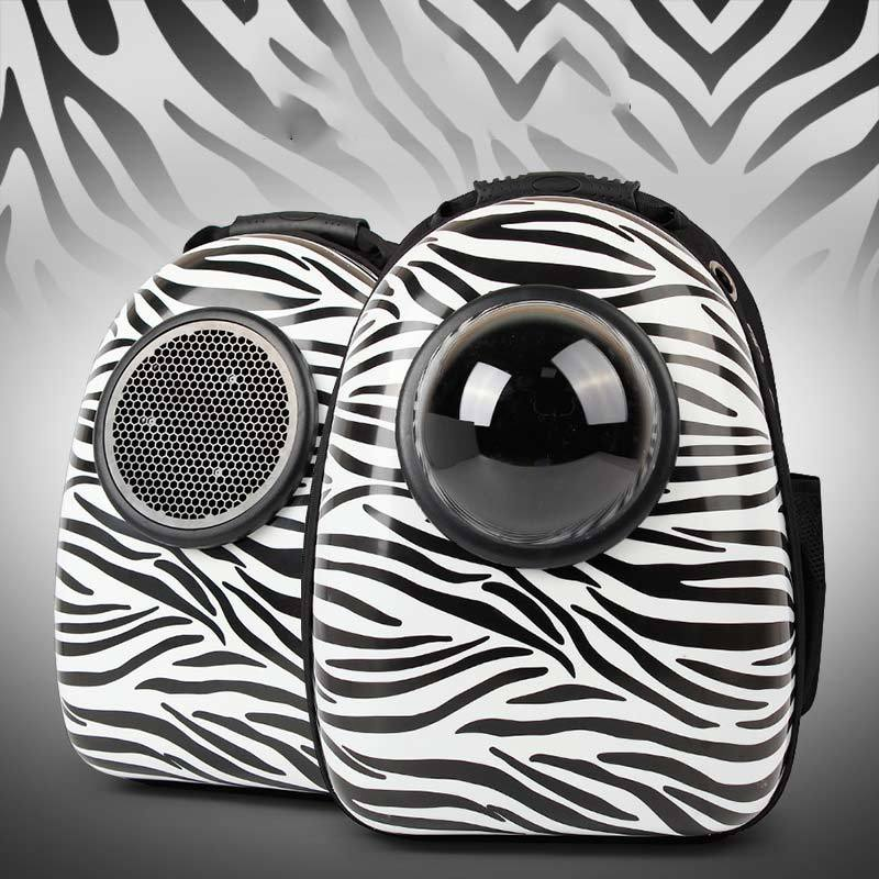Bubble Pet Travel Backpack - Breathable Capsule Astronaut Dog Cat Carrier - Zebra Pattern