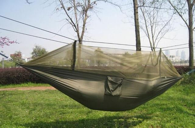 Camping Hammock Tent With Mosquito Net Portable Hanging Bed - Army Green