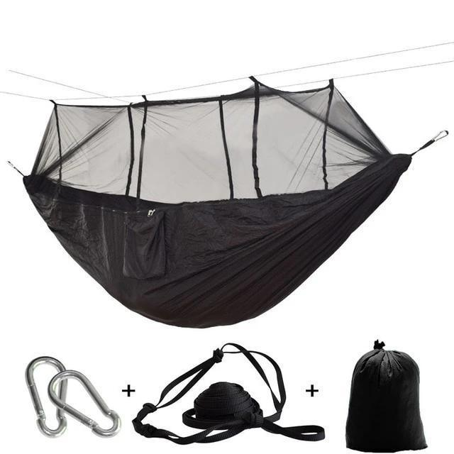Camping Hammock Tent With Mosquito Net Portable Hanging Bed - Black