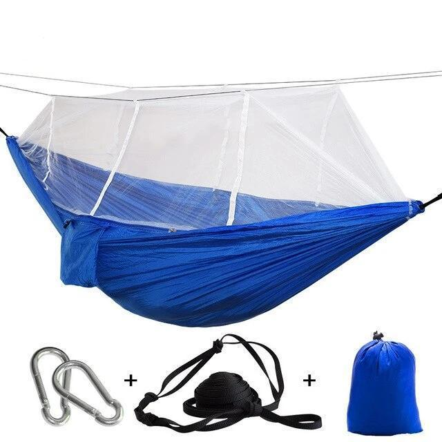 Camping Hammock Tent With Mosquito Net Portable Hanging Bed - Blue White