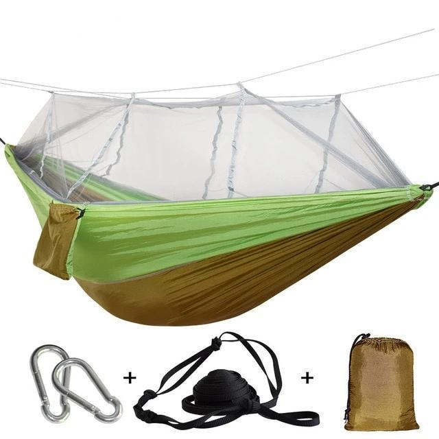 Camping Hammock Tent With Mosquito Net Portable Hanging Bed - Brown Green