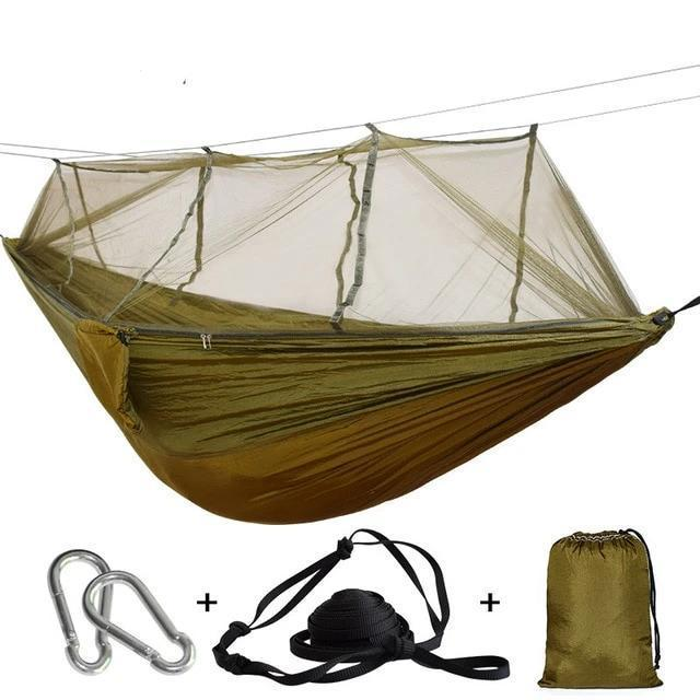 Camping Hammock Tent With Mosquito Net Portable Hanging Bed - Camel Green