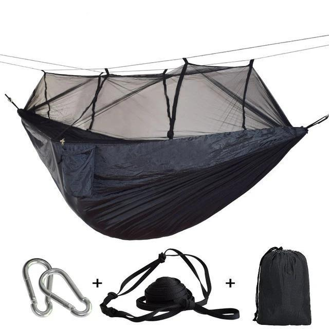 Camping Hammock Tent With Mosquito Net Portable Hanging Bed - Dark gray