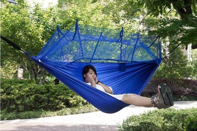 Camping Hammock Tent With Mosquito Net Portable Hanging Bed - Deep Blue