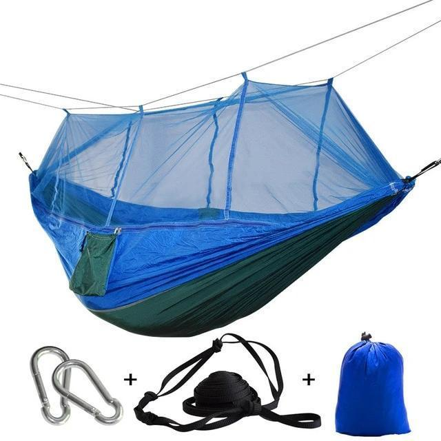 Camping Hammock Tent With Mosquito Net Portable Hanging Bed - Green Blue