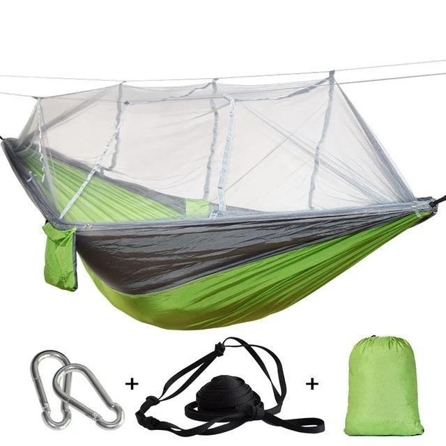 Camping Hammock Tent With Mosquito Net Portable Hanging Bed - Green Gray