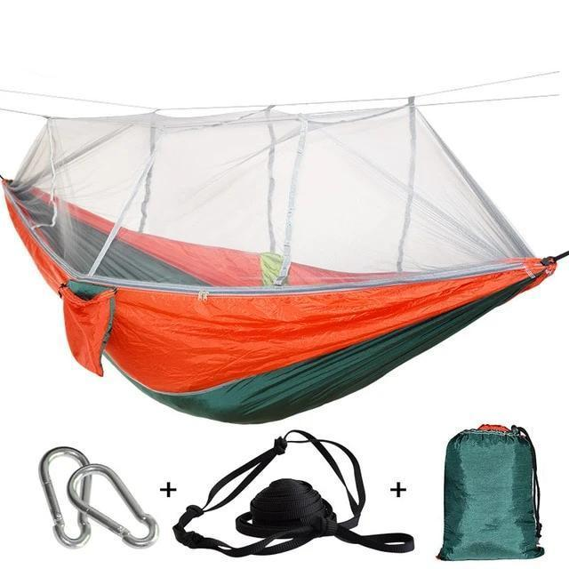Camping Hammock Tent With Mosquito Net Portable Hanging Bed - Green Red