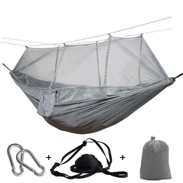 Camping Hammock Tent With Mosquito Net Portable Hanging Bed - Light Gray