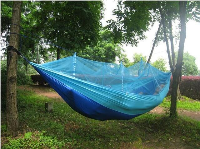 Camping Hammock Tent With Mosquito Net Portable Hanging Bed - Sky Blue