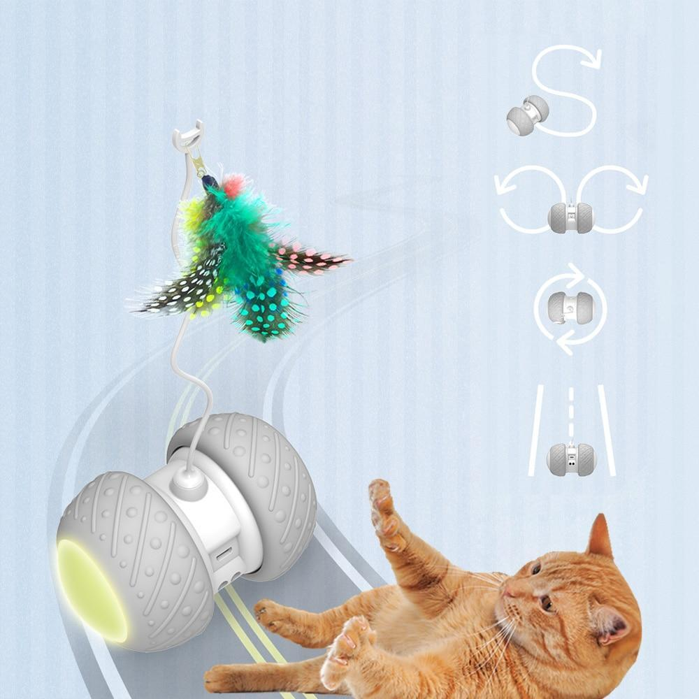 CatBot - Interactive Robotic Teaser Cat Toy With LED - Feather Kitten Toys - Cat Toys