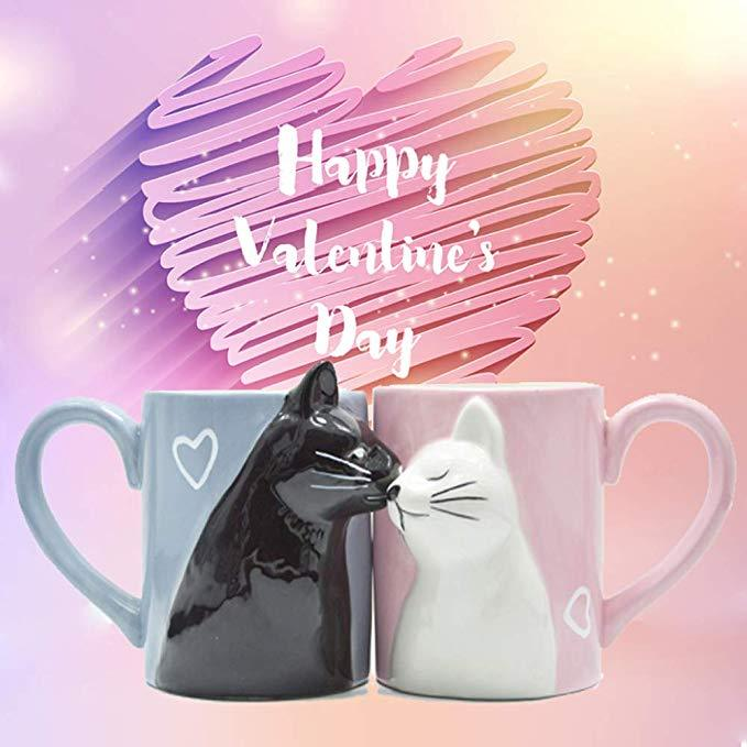 Ceramic Kissing Cats Cups Couple Mugs Set - Cats Coffee Cup Set - Mugs
