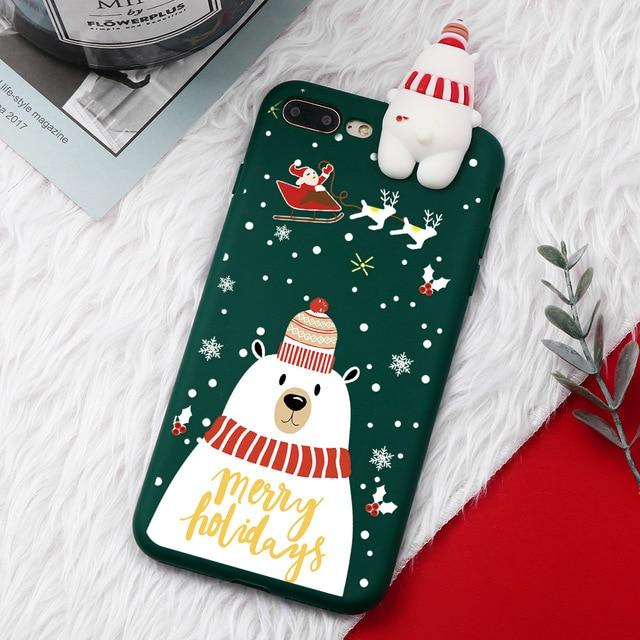 Christmas 3D Bear Deer Santa Cartoon iPhone Case - Silicone Matte Cover For iPhone - iPhone 6 6S / Bear Green