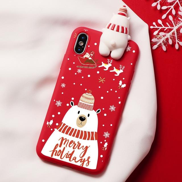 Christmas 3D Bear Deer Santa Cartoon iPhone Case - Silicone Matte Cover For iPhone - iPhone 6 6S / Bear Red