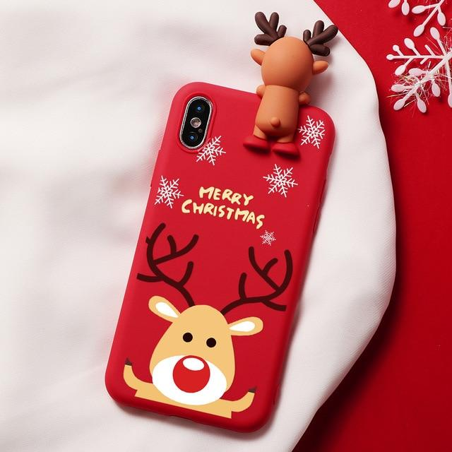 Christmas 3D Bear Deer Santa Cartoon iPhone Case - Silicone Matte Cover For iPhone - iPhone 6 6S / Reindeer Red